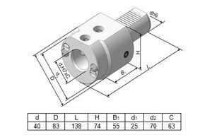 291.342.132-01 Резцедержатель для инструмента с цилиндрическим хвостовиком Ø 25 мм.