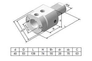 291.342.132-02 Резцедержатель для инструмента с цилиндрическим хвостовиком Ø 20 мм.